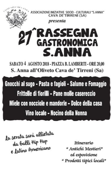Cava de' Tirreni: torna la 27° rassegna gastronomica Sant'Anna