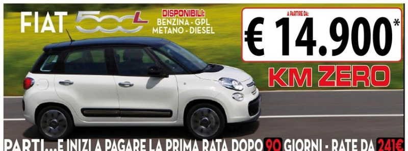 Fiat 500L Km Zero a partire da 14900 €