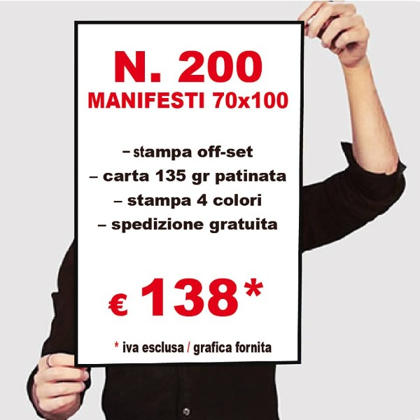 Offerta stampa 200 manifesti 138 €