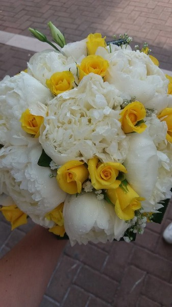 Bouquet Sposa Rose Gialla Peonie & Lisanthus Bianchi