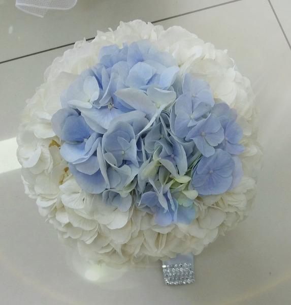 Bouquet Sposa Ortensie Bianche & Azzurre