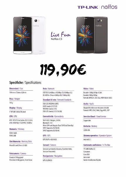 Smartphone TP-LINK Neffos