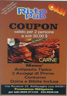 Coupon carne per 2 persone a soli 30 €