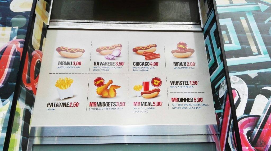 Il menù degli Hot Dog