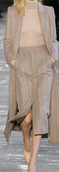Completo in finissima lana pettinata Gessato beige e tortora