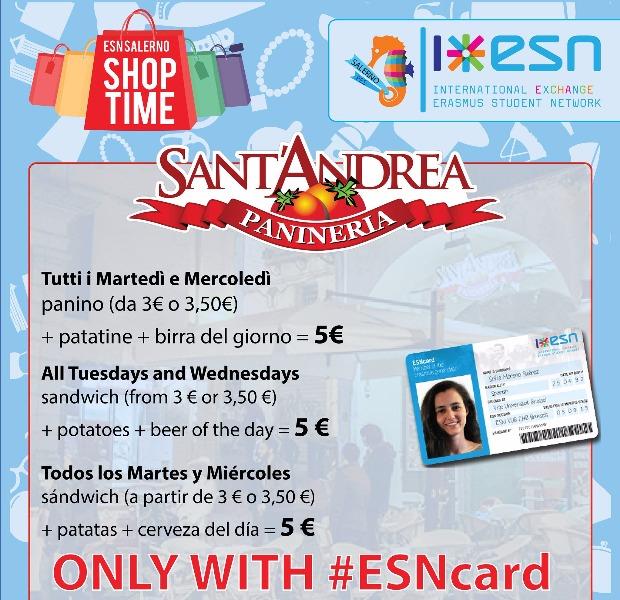 Super PROMO ESN card. Tutti i martedì e mercoledì Panino + Bibita + Patatine + Birra del Giorno 5€