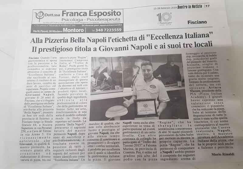 Alla Pizzeria Bella Napoli l'etichetta di 'Eccellenza Italiana'