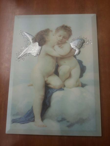 Quadro angeli mis. 34×26 con ali in argento e Swarosky prezzo 50€ - il 50%= €25