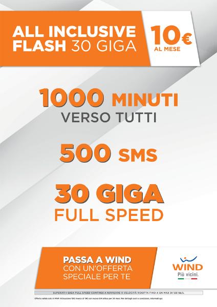 Passa a Wind con 1000 Minuti, 500 sms e 30 GIGA a soli 10€ al mese  e SIM IN OMAGGIO