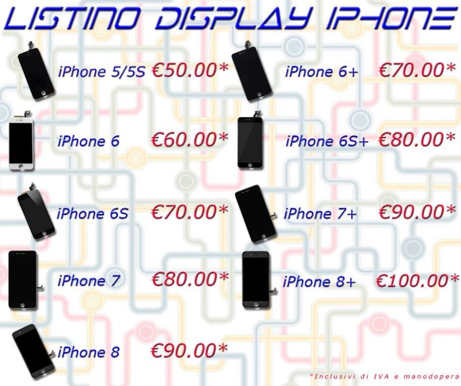 Listino sostituzione display iPhone