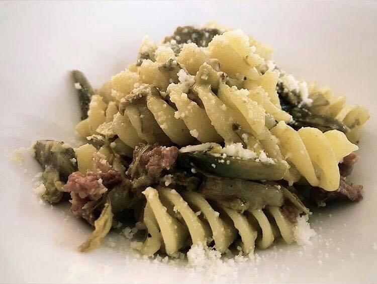 Elicone di Gragnano con Carciofi, Pancetta e Pecorino