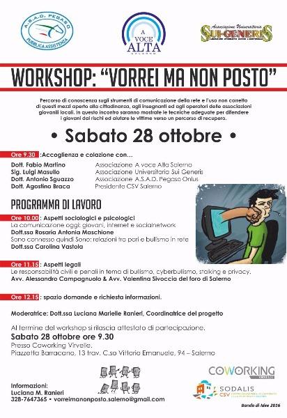 28 Ottobre - Workshop:'Vorrei ma non posto'
