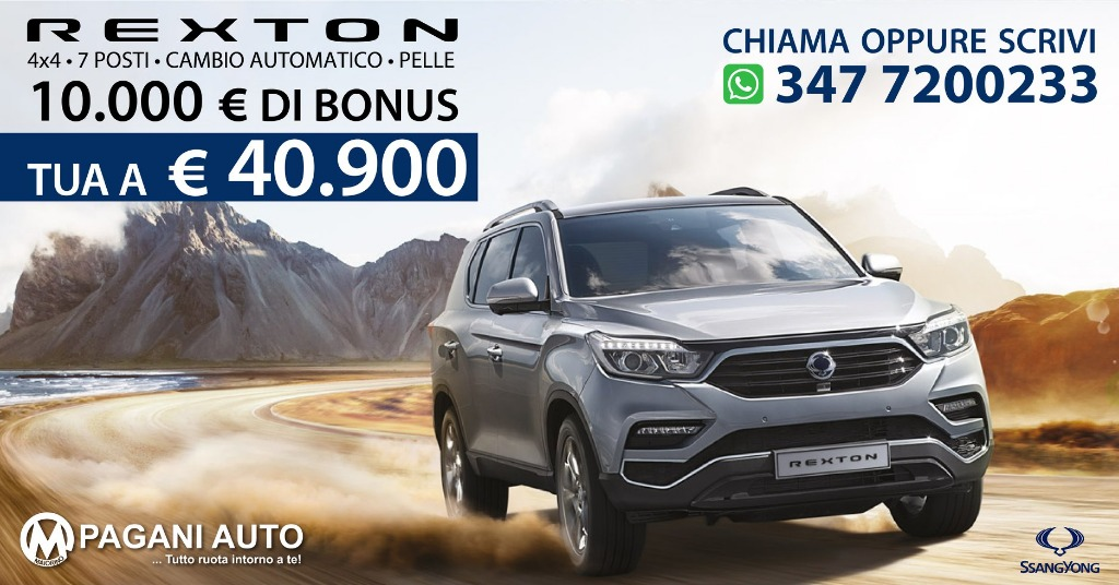 SsangYong Rexton 2.2 Diesel 181 cv Versione Icon 7 Posti Cambio Automatico 4WD
