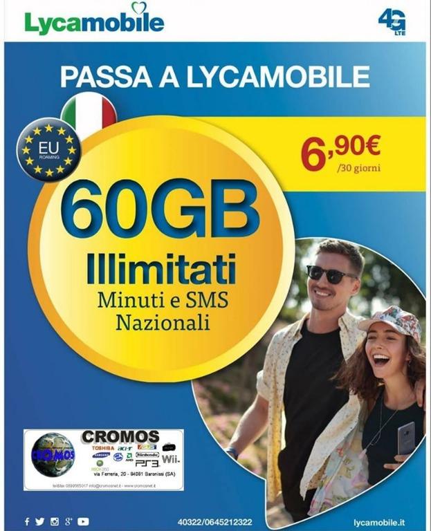 Passa a Lycamobile 60gb + Minuti e Sms illimitati 6,90€ al mese