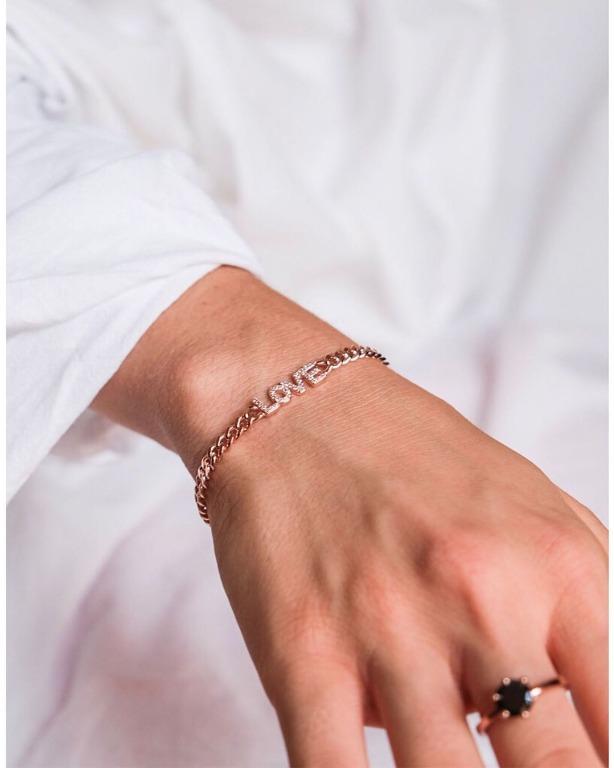 bracciale maglia groumette in argento 925 con placchetta zirconata