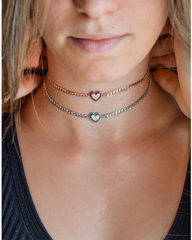 nuovo chocker maglia groumette in argento 925 con cuore centrale zirconato