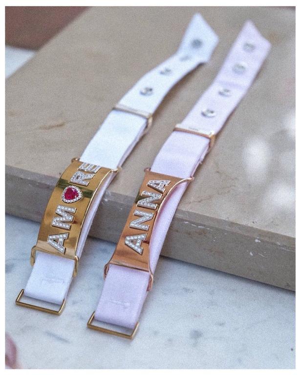 bracciale con placchetta personalizzabile in argento 925 e cinturino in cotone