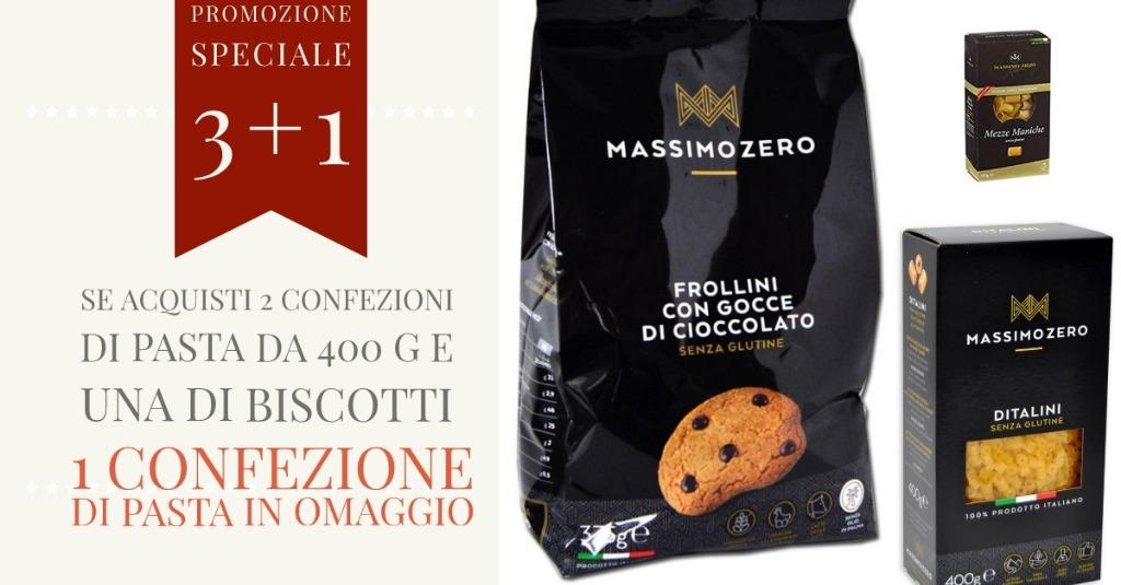 Promo Speciale 3+1. Se acquisti 2 confezioni di pasta e 1 di biscotti, 1 confezione di pasta in OMAGGIO
