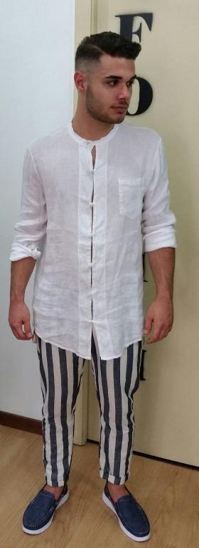 Camicia lino coreana euro 23,00 Pantalone lino euro 21,00 Mocassini euro 15.00