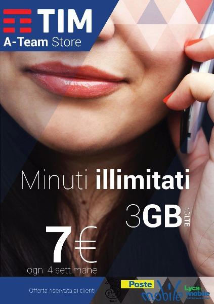 Minuti illimitati e 3 giga a soli 7€ al mese