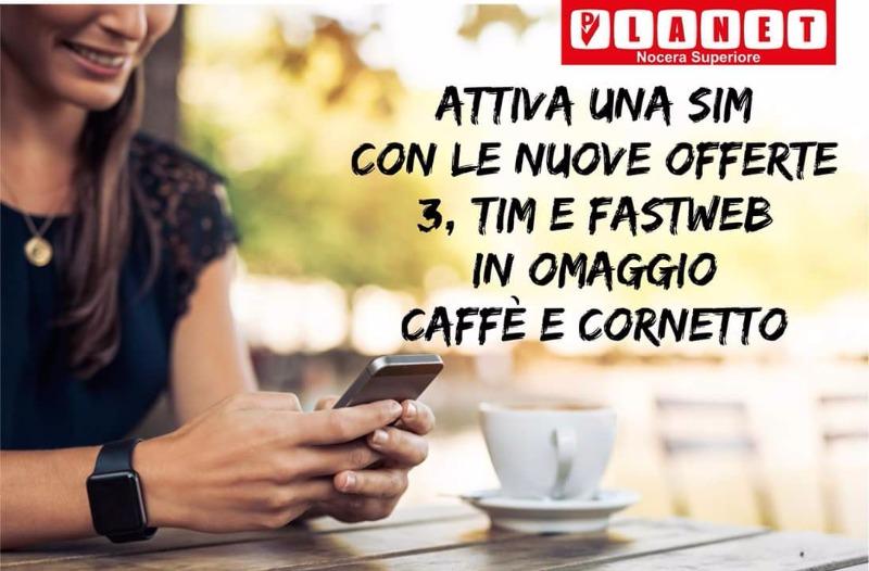 Attiva una sim con le nuove offerte 3, Tim e Fastweb in OMAGGIO Caffè e Cornetto
