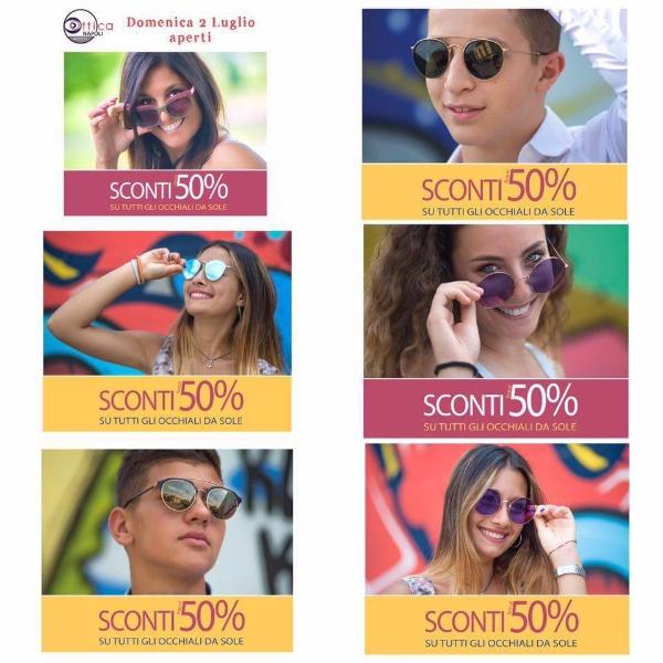 Sconti 50% su tutti gli occhiali da sole