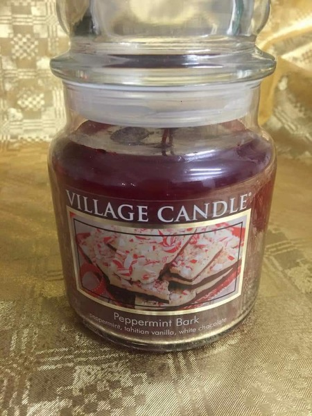 Village Candle peppermint bark