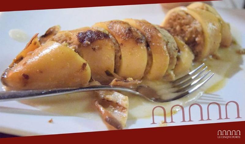 Totano ripieno su crema di patate