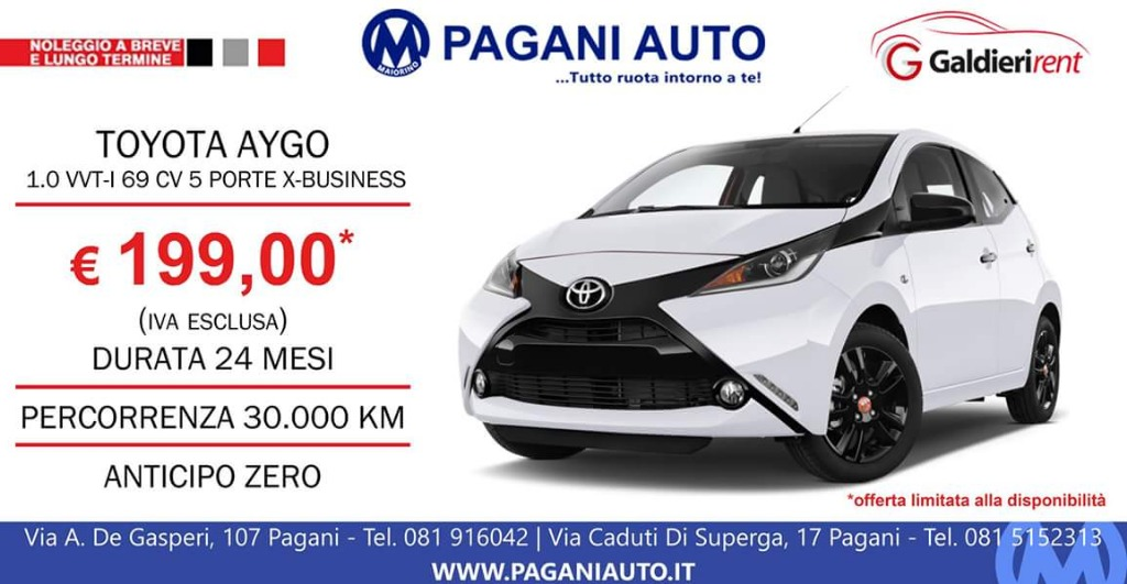 Noleggio Toyota Aygo 199€ al mese