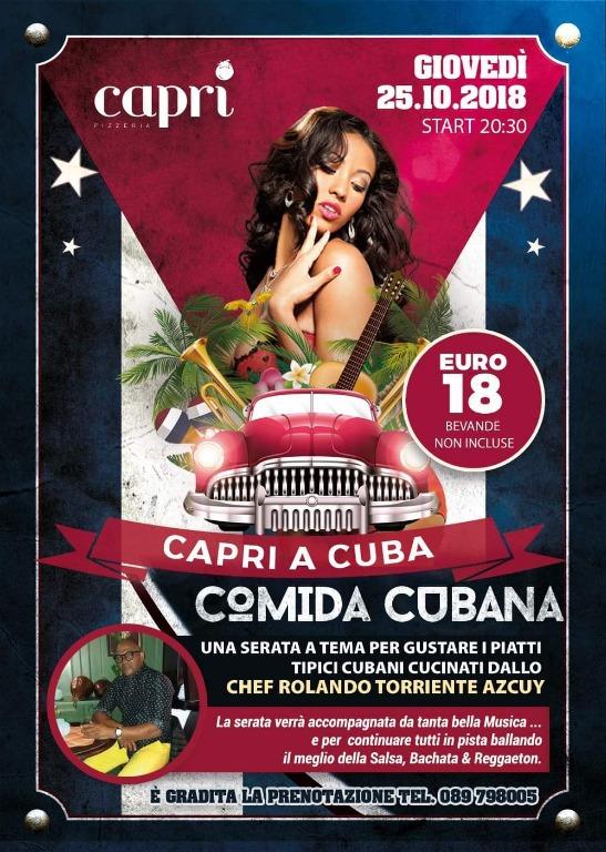 GIOVEDÌ 25.10.2018 CAPRI A CUBA. COMIDA CUBANA!