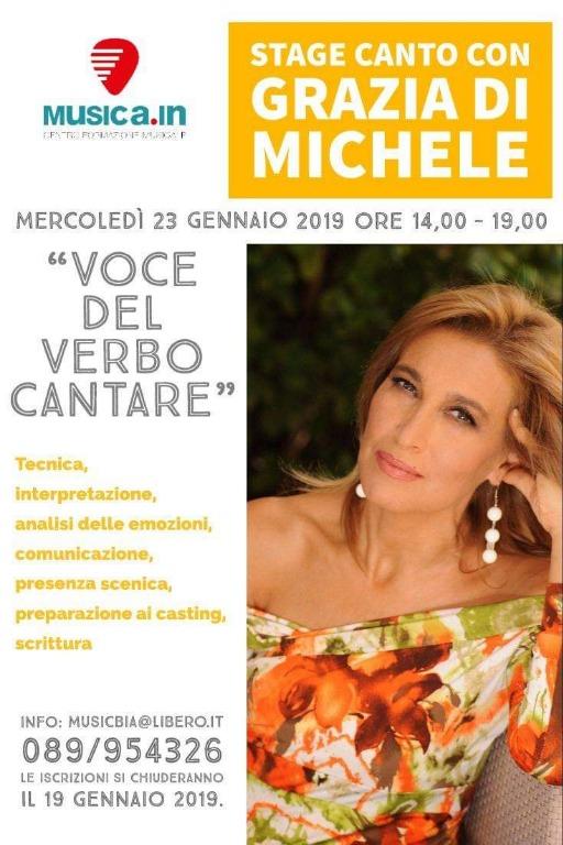 23 gennaio stage di canto con Grazia Di Michele