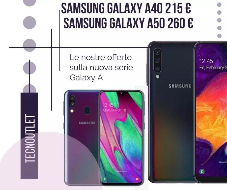 Samsung Galaxy A40 €215. A50 €250