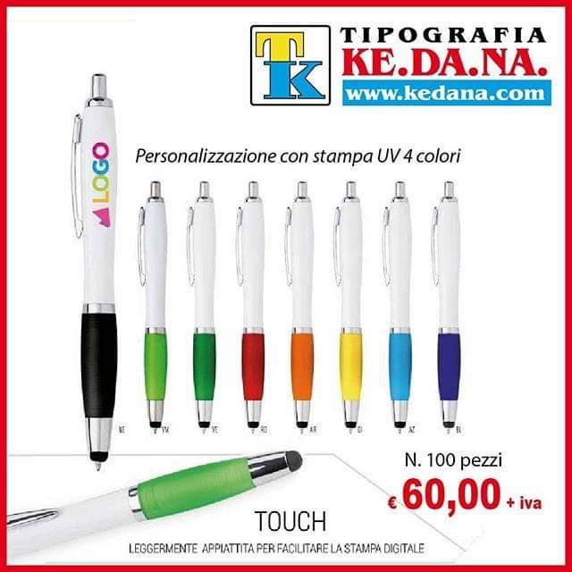 Penne a sfera touch personalizzate con stampa 4 colori uv