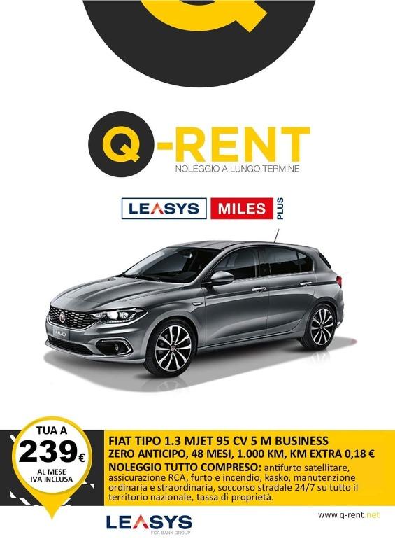 FIAT TIPO 1.3 MJET 95 CV 5M BUSINESS Noleggio Full Service ANTICIPO ZERO, 48 MESI, 1000 KM inclusi, KM EXTRA 0,18 Euro, CANONE 239 Euro IVA INCLUSA