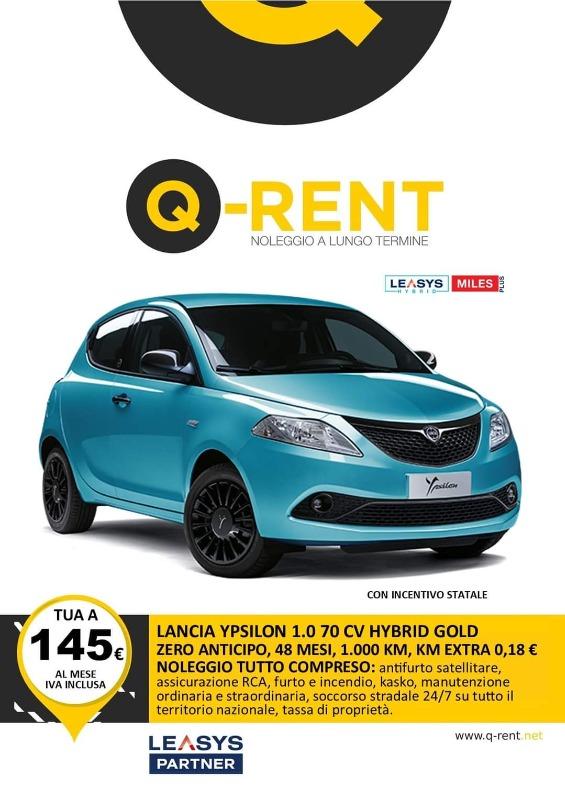 LANCIA Y 1.0 70 CV HYBRID GOLD  Noleggio Full Service ANTICIPO ZERO, 48 MESI, 1000 KM inclusi, KM EXTRA 0.18 Euro, CANONE 179 Euro IVA INCLUSA.