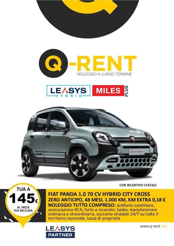 FIAT PANDA 1.0 70 CV HYBRID CITY CROSS INCENTIVO STATALE Noleggio Full Service ANTICIPO ZERO, 48 MESI, 1000 KM INCLUSI, 0.18 Euro KM EXTRA, CANONE 145 Euro IVA INCLUSA
