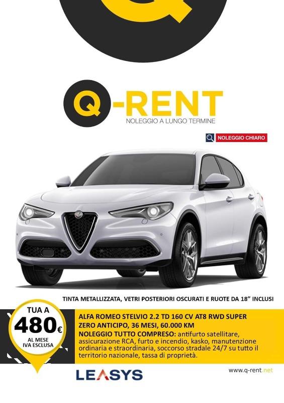 ALFA ROMEO STELVIO 2.2 TD 160 CV AT8 RWD SUPER Noleggio Full Service ANTICIPO ZERO, 36 MESI, 60000 KM, CANONE 480 Euro i.e.