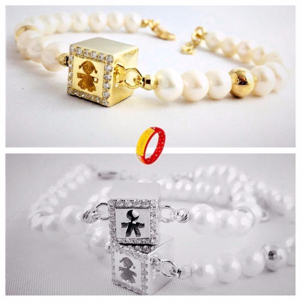 Bracciali perle naturali e argento 925 vari colori simili le Bebè