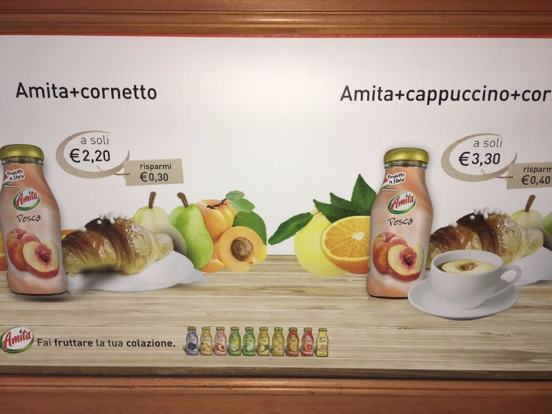 Amita e cornetto 2,20 € - Amita, cappuccino e cornetto 3,30€