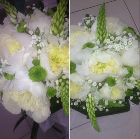 Bouquet Peonie bianche,Ornitogalli e Sancarlini