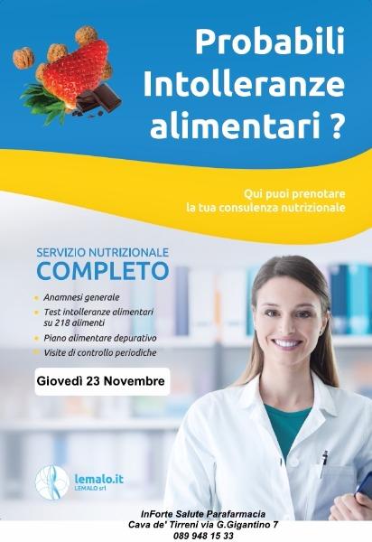Giovedì 23 Novembre - Servizio Nutrizionale Completo