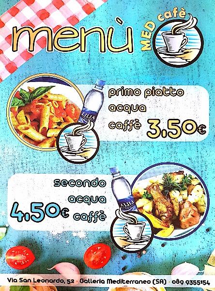 Offerte MENU: primo. acqua, caffe 3,50€ - secondo, acqua, caffè 4,50 €