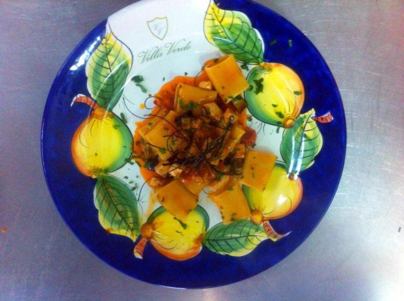 Paccheri pesce spada e julienne di melanzane