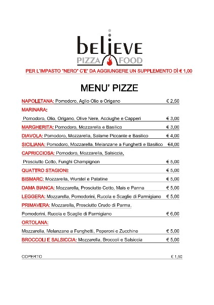 Menu Pizze