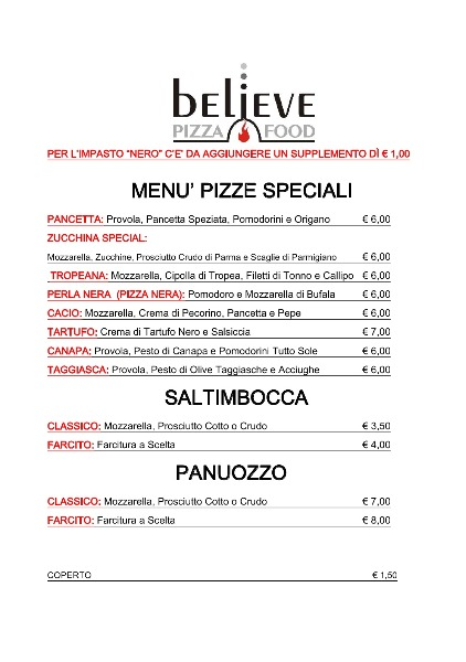 Menu Pizze Speciali