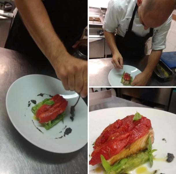 Ricciola arrostita, con petali di pomodoro San Marzano, zucchine e paté di olive