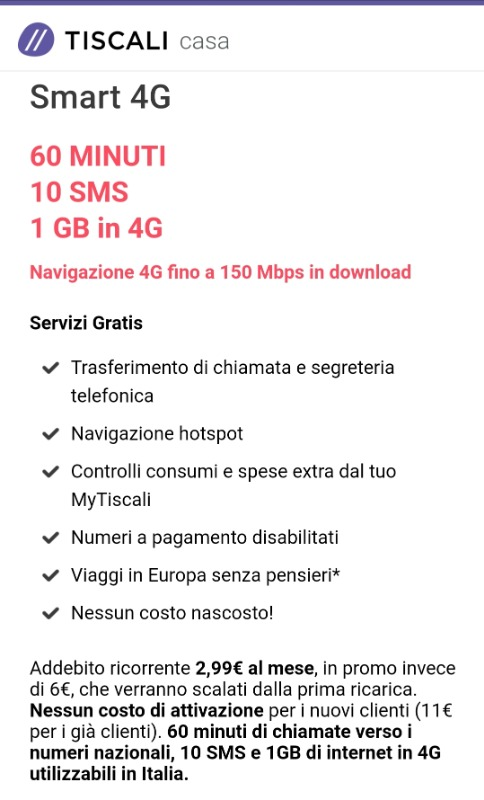 Offerta Tiscali mobile Smart 4G