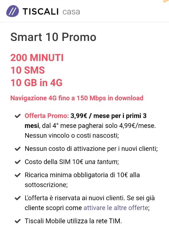 Offerta Tiscali mobile Smart 10 promo