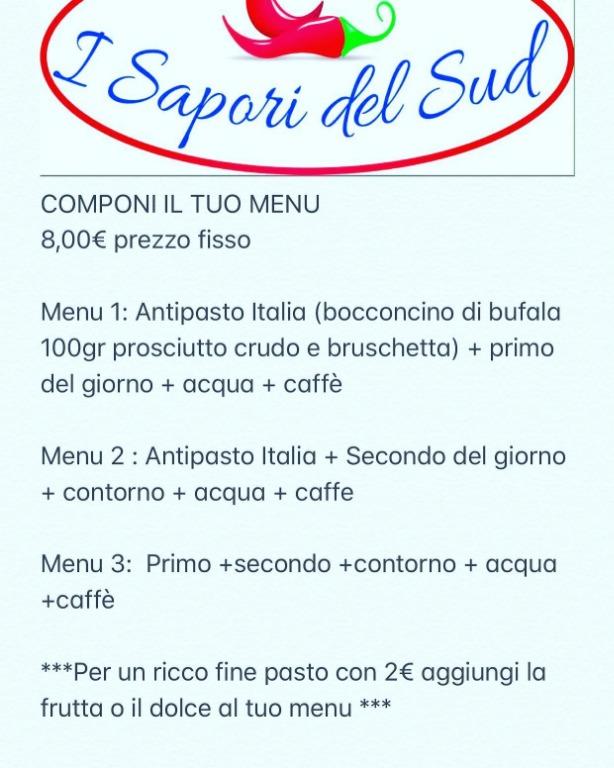 Componi Il tuo menu... 8 euro prezzo fisso