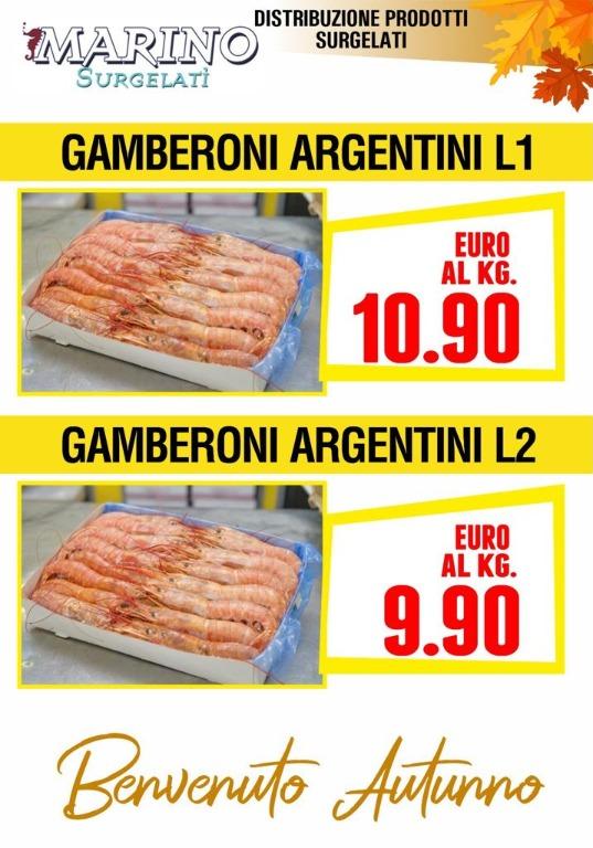 Gamberoni Argentini L1 €10,90 al kg - L2 € 9,90 al kg
